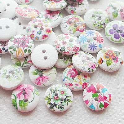 New 100pcs Spring Flowers Wood Buttons 15mm Sewing Craft Mix Lots T0726