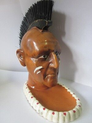 Vintage Napco Indian Head Bust With Mohawk Brush Jewelry Coin Tray