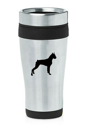 Stainless Steel Insulated 16oz Travel Mug Coffee Cup Boxer Dog
