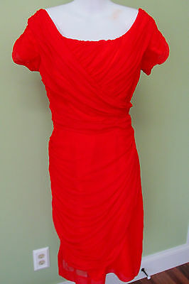 """VINTAGE 1960'S RD CHIFFON WIGGLE DRESS/ EXCELLENT CONDITION/ 36"""" BUST/ GATHERED"""