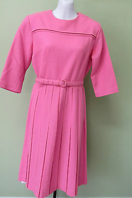 """VINTAGE 1960'S PINK WOOL DRESS/  PLEATED SKIRT AND MATCHING BELT/ BUST 38"""""""