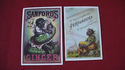 2 BLACK AMERICANA TRADE CARDS SANFORD'S GINGER & PERSUADERS