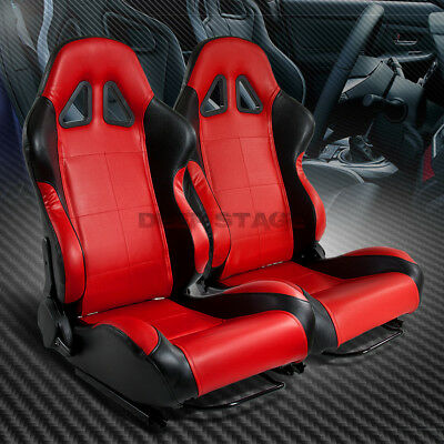 Full Reclinable Left+Right Black/red Type-R Pvc Leather Bucket Racing Seat+Rail