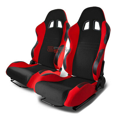 Type-7 Pair Black And Red Woven Fabric Full Reclinable Racing Seats Pair+Sliders