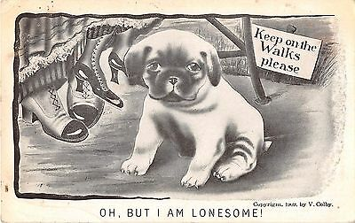 Cute Puppy Dog by Ladies Feet-1909 Comic PC-Artist V. Colby-Oh But I Am Lonesome