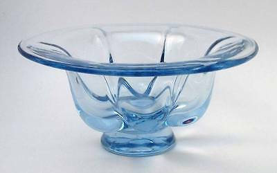 Vintage Whitefriars British Art Glass Sapphire Blue Lobed Footed Bowl