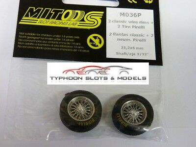 M036P Mitoos Classic Wire Wheels M026 & Classic Pirelli Tyres x2 - New