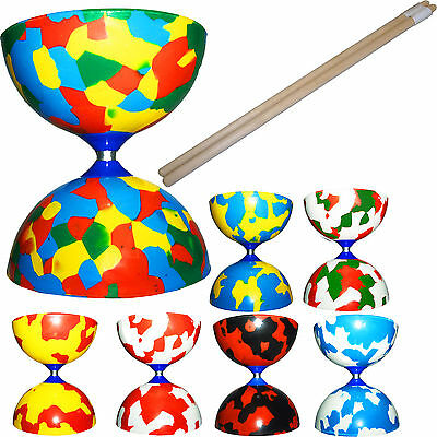 Jester Diabolo with Wooden Handsticks - Kids Diablo Toy + Wood Sticks Set