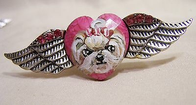 yorkie hand painted angel wing heart Ring adjustible crystal silver