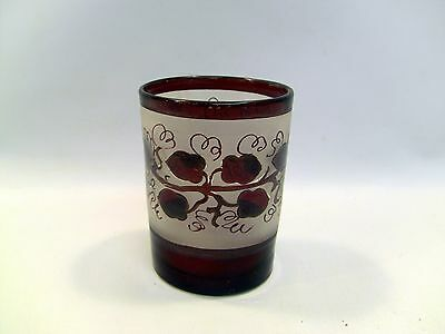 ~ Antique 1850's Hand Blown Frosted Ruby to Clear Glass Cup, Tumbler, Beaker