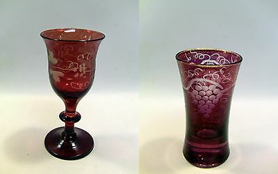 ~ Antique Lot of 2 Hand Blown & Cut Ruby to Clear Glass Cups - Rummer & Shot