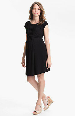 New Japanese Weekend Maternity Nursing Luxe Little Black Shift Dress XS 2 4