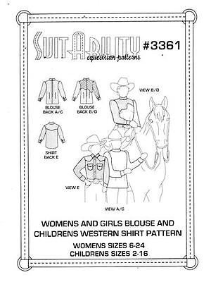 Horse & Western Suitability Womens & Girls Blouse & Childs Western Shirt 3361