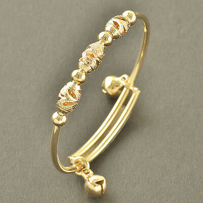 Dainty 9K Solid Gold Filled 2-Bell Toddle Baby Bracelet,No Allergy,Z3467