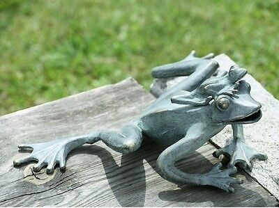 Adorable Frog Mama & Baby Garden Frogs Pool Pond Decor Metal Sculpture Statue