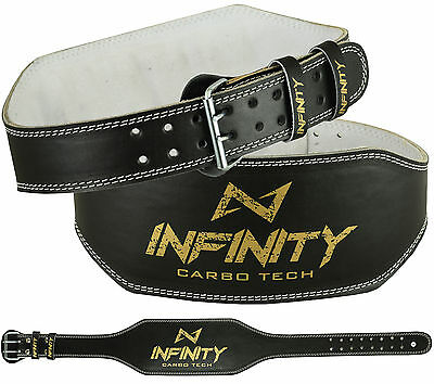 "INFINITY Weight Lifting 6"" Leather Padded Belt Back Support Gym Training Fitness"