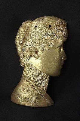 Antique French Decorative Gilt Bronze Ornament Furniture Empire Woman Profile
