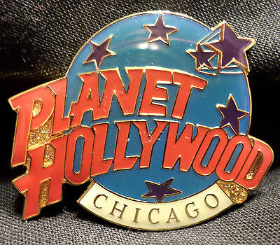 Planet Hollywood Chicago Lapel Pin . Globe and Stars Logo . . North Wells Street