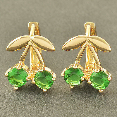 No Allergy 9K Solid Gold Filled Emerald Girls Cherry Hoop Earrings,Z3363