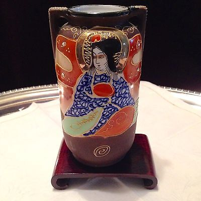NIPPON HAND PAINTED VASE WITH ROSEWOOD STAND - CiIRCA 1940s