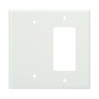 2-Gang Wall Plate Cover White Decorator Blank Wallplates Lexan Unbreakable