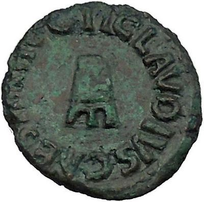 CLAUDIUS 42AD Rome QUADRANS Modius Authentic Original Ancient Roman Coin i46369