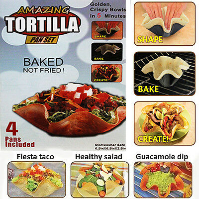 Amazing Tortilla 4 Pan Set Mexican Taco Dips Salads Non-Stick - Baked Not Fried!