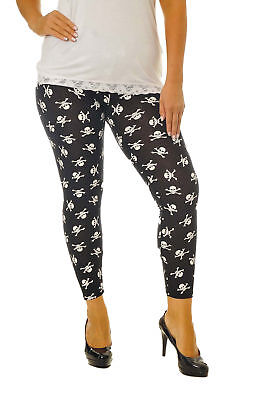 New Womens Leggings Plus Size Ladies Pirate Skull Print Long Length Nouvelle