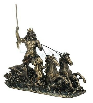Greek God Poseidon On Hippocampus Chariot Statue Sculpture Figure HOME DECOR