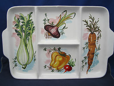 "14"" Divided Tray Platter Hand Painted Vegetables Crudities Art Pottery Italy"