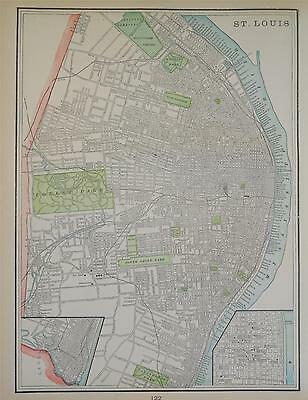 1900 St. Louis, Missouri Atlas map** Chicago color map on back .115 years old!
