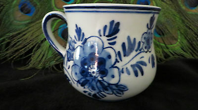 Handpainted Delft Blue DAIC Cup, Floral & Windmill