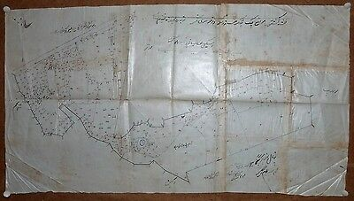 "India vintage hand drawn town map Shreemagar Tonk on cloth paper 14"" x 25"""