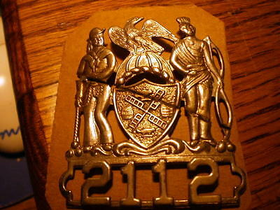 New York City Vintage Obsolete Subway NYPD Police Hat Badge #2112