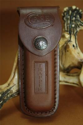 Case Knives Trapper Brown Leather Sheath USA Made New Snap Closure 980