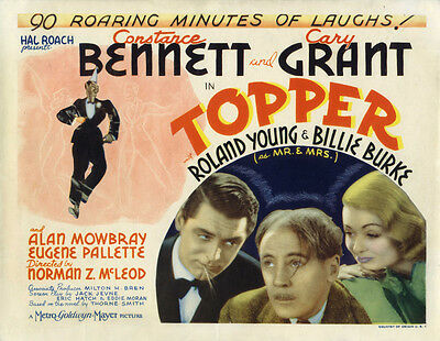 TOPPER (1937) Vtg orig title lobby card Cary Grant + Constance Bennett as ghosts
