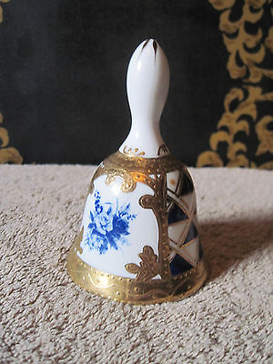 KPM Gold Blue and White Porcelain Hand Painted Bell