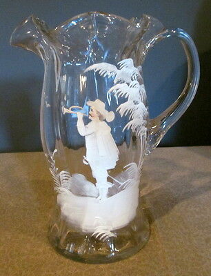 Large Antique Mary Gregory Water Pitcher Art Glass Victorian