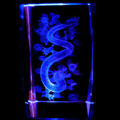 "3"" 3D LASER ETCHED CRYSTAL Dragon + Light Base Gift"