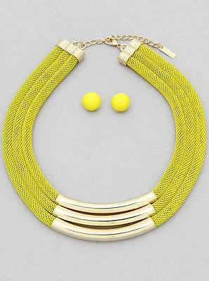 Three Layers Yellow Curved Mesh Chain Gold Tone Necklace Earring Set