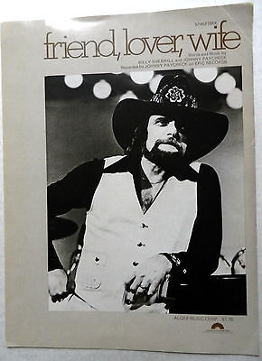 JOHNNY PAYCHECK Sheet Music FRIEND, LOVER, WIFE 70's COUNTRY Western OUTLAW