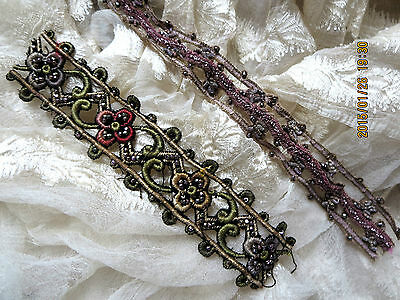 ANTIQUE FRENCH OMBRE SILK EMBROIDERED BEADED METAL COIL TRIM FRAGMENTS 2 PCS