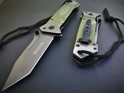 TANTO MILITARY KNIFE GREEN GRAY G-10 HEAVY DUTY Assisted Tactical Rescue NEW!!