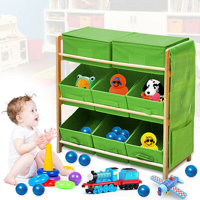 Childrens/kids 3 Tier Toy/bedroom Storage Shelf Unit & 8 Canvas Boxes/drawers Uk