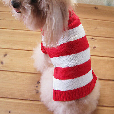Striped Coat Knitwear Apparel Clothes Puppy Dog Cat Jumper Sweater White Red L