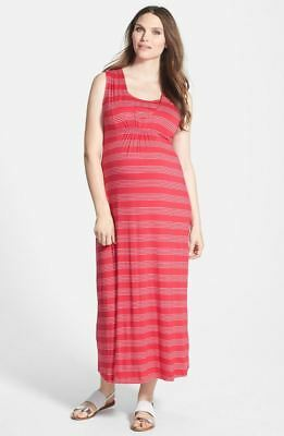 New Japanese Weekend Maternity and Nursing Red Nautical Stripe Long Maxi Dress