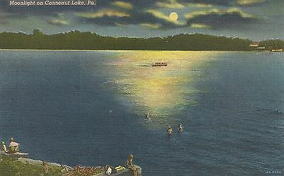 Moonlight on Conneaut Lake PA Postcard 1942
