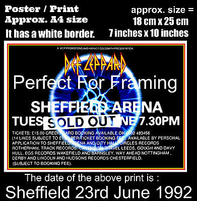 Def Leppard live concert Sheffield City Hall 23rd June 1992 A4 size poster print
