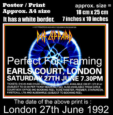 Def Leppard live concert Earls Court London 27th June 1992 A4 size poster print