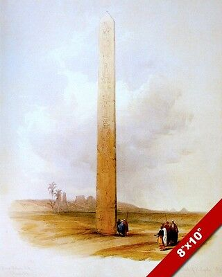 Ancient Egyptian Ruins Heliopolis Obelisk Of On Painting Art Real Canvas Print
